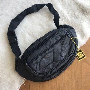 Handbags - NOS VTG 90s Black Leather Bum Bag Fanny Pack